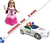 Prinsesje Anna -dansende Pop met muziek + Speelgoed politie auto -rijden en politie geluid  (2pack set) inclusief batterijen