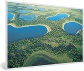 Foto in lijst - Foto vanuit lucht van de Pantanal in Zuid-Amerika fotolijst wit 60x40 cm - Poster in lijst (Wanddecoratie woonkamer / slaapkamer)