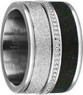 Quiges Dames Stapelring Set RVS Zilverkleurig met zwart - Maat 18.5 - Hoogte 10mm - SRS00318.5