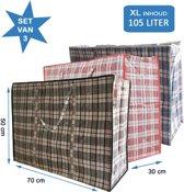 MixMamas Big Shopper / Boodschappentas / Waszak XL - 70 x 50 cm - Set van 3 - Rood/Blauw/Zwart