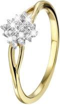 Lucardi - Diamond Luxury - Geelgouden ring met 24 diamanten