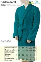 Homéé - Badjas - shawlkraag - Turquoise | 400g. p/m2 | badstof 100% Katoenen - XL