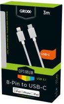 Grixx Optimum Cable USB-C to 8-pin Apple MFI License Nylon - lengte 3m - kleur wit