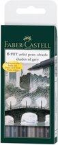 Tekenstift Faber-Castell Pitt Artist Pen 6-delig etui Shades of Grey