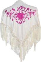 Spaanse manton - omslagdoek - voor kinderen - creme wit roze - bij Flamencojurk