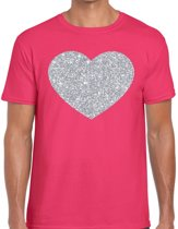 Zilver hart glitter fun t-shirt roze heren - i love shirt voor heren L