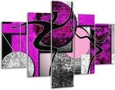 Glasschilderij Abstract | Paars, Zwart, Wit | 100x70cm 5Luik | Foto print op Glas |  F003478