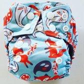 AN8 AIO Newborn wasbare Pocket luier vos blauw