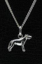 Zilveren Amerikaanse bulldog ongecoupeerd met staart ketting hanger - klein