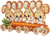 Houten kapstok 4 konijnen met 6 knoppen | Bartolucci