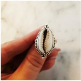 Cowrie Shell ring - 925 zilver - maat 19.00 mm - maat 19.00 mm