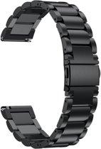 YONO Metalen Schakel Band Zwart voor Garmin Vivoactive 3 / HR – Premium RVS Armband met Horloge Inkort set