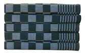 Homéé - Blokdoeken pompdoeken theedoeken groen / wit  set van 12 stuks   65x65cm