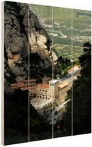 Montserrat klooster tussen bergen Hout 120x160 cm - Foto print op Hout (Wanddecoratie) XXL / Groot formaat!