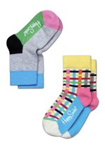 Happy Socks Kids 2-Pack Blocks & Stripes, 4-6 jaar, Maat 27-30