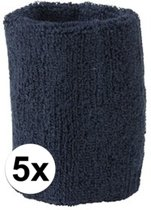 5x Navy blauw zweetbandje voor pols - zweetbandjes