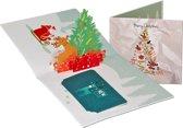Popcards popupkaarten - Kerstkaart kerstboom met hertje en cadeautjes pop-up kaart