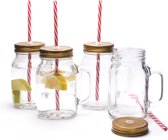 Mason Jar Pint Drinkglazen met deksel en rietje - Set van 4