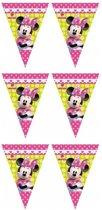 3x Disney Minnie Mouse vlaggenlijn themafeest 280 cm - Kinderfeestje partijtje feestslingers