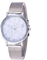 Marble Mesh Horloge - Staal - Zilver - Ø 38 mm