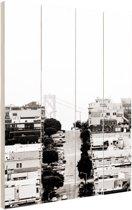 San Francisco zwart-wit Hout 80x120 cm - Foto print op Hout (Wanddecoratie)