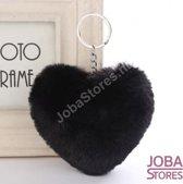 """Pom Pom Sleutelhanger """"JobaStores®"""" Hart Zwart"""