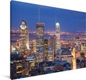 Stadsgezicht Montreal tijdens de nacht in Canada Canvas 60x40 cm - Foto print op Canvas schilderij (Wanddecoratie woonkamer / slaapkamer)