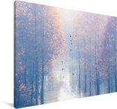 Mist trekt door de Redwood forest tijdens de zonsopkomst in China Canvas 140x90 cm - Foto print op Canvas schilderij (Wanddecoratie woonkamer / slaapkamer)