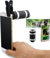 Universele Premium 4 in 1 Telefoon / Smartphone Opzetlens Kit | Macro, Wide Angle, Fish Eye, 8x Optische Zoom Telelens | DrPhone Opzet Lens Telefoon