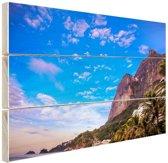 Strand met bergen Brazilie Hout 30x20 cm - klein - Foto print op Hout (Wanddecoratie)