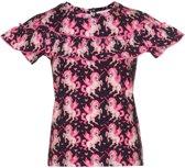 Mim-pi Meisjes T-shirt - Zwart met roze - Maat 128