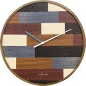 NeXtime Patch Wood - klok - Rond - Hout - Stil uurwerk  - Ø 45 cm -  Multi color