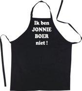 Mijncadeautje Schort - Ik ben Jonnie Boer niet - mooie - grappige - leuke keukenschort - zwart
