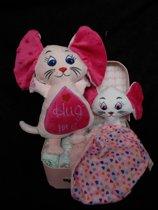 koffertje roos met muis + knuffeldoekje
