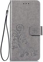 Shop4 - Samsung Galaxy A40 Hoesje - Wallet Case Bloemen Patroon Grijs
