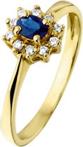 The Jewelry Collection Ring Saffier En Diamant 0.08 Ct. - Geelgoud