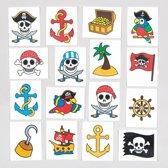 Tijdelijke tattoos van piraten voor kinderen – leuk voor uitdeelzakjes voor kinderen (verpakking van 24)