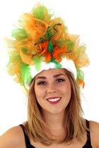 Fur hoed oranje/groen