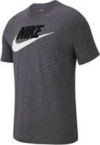 Nike Nsw Icon Futura Heren T-shirt - Dk Grey Heather/Black/(White) - Maat M