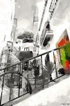 Straatje met trap in zwart wit in Spanje, Andalusië, Malaga, Frigiliana | abstract, modern, stad | Foto schilderij print op Canvas (canvas wanddecoratie) | 60x40cm