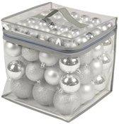 77 Kerstballen Zilverkleurig met opbergtas (Plastic)