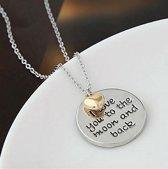 Fashionidea - Zeer mooie zilverkleurige ketting met goudkleurig hartje. I love you to the moon and back.