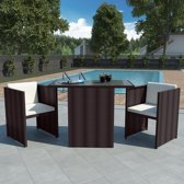 Tuinset poly rattan bruin 7-delig