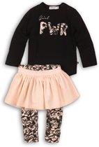 Dirkje Meisjes Baby Setje 3-delig - Black + pink + print - Maat 86
