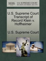 U.S. Supreme Court Transcript of Record Klein V. Hoffheimer