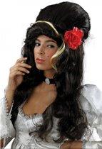 Amy Winehouse pruik met roos