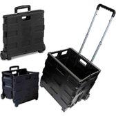 Trolley met vouwkrat - Boodschappenkrat – Shoppingkrat - Boodschappentrolley - Inklapbaar - 30L