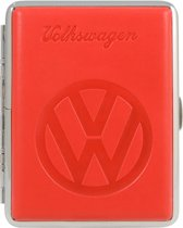 Sigarettenhouder 16 sigaretten - Volkswagen logo - Metaal & kunstleer - Rood