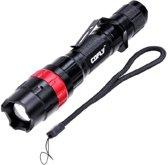KX-H50 370LM Zoom Bolle lens LED zaklamp, Cree Q5 LED, 3-mode, wit licht, met clip & riem (rood)
