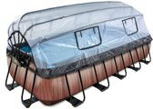 EXIT zwembad Wood 540x250cm met overkapping en filterpomp - bruin